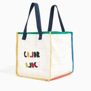 Zara cotton embroidered tote bag color block text